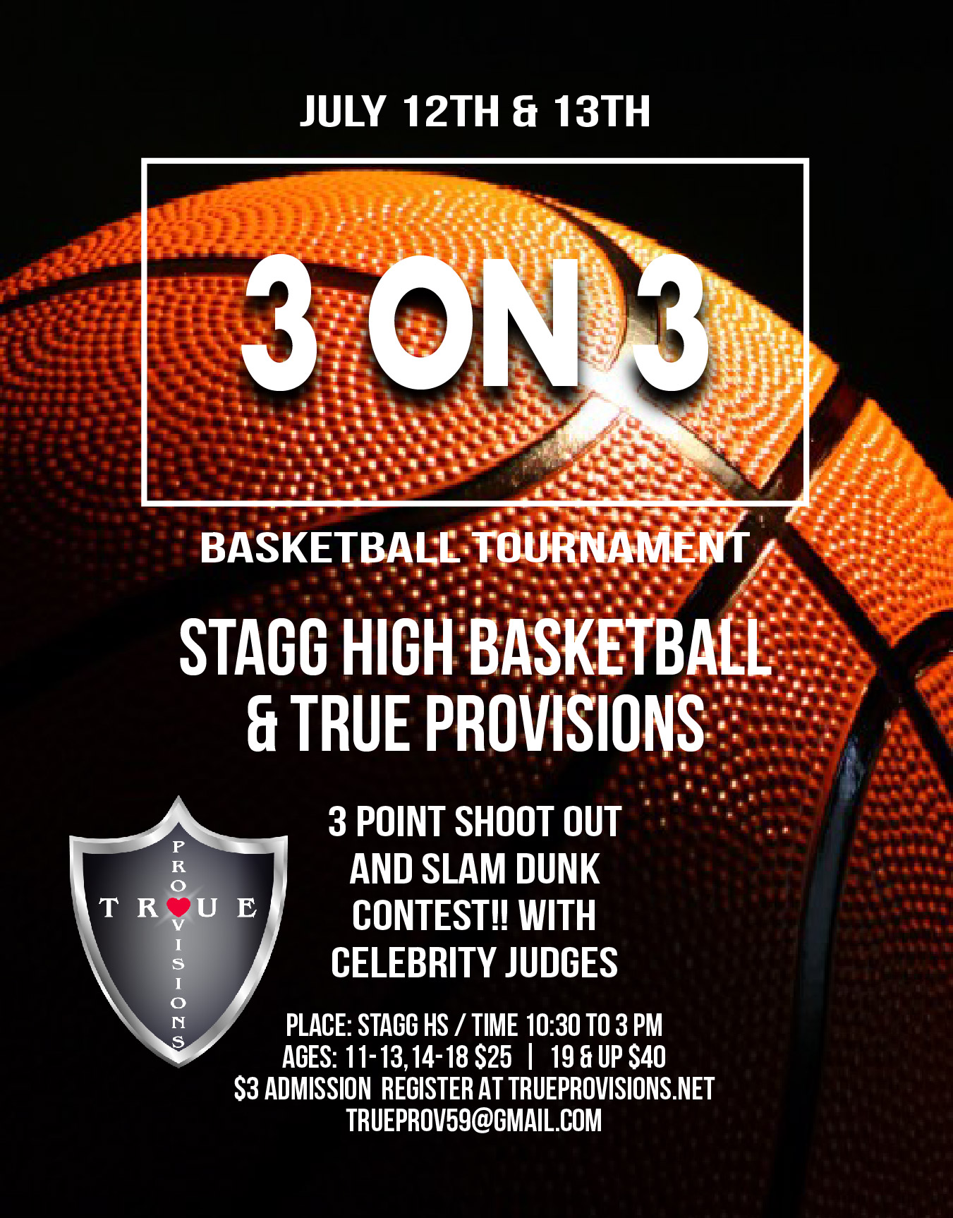 3 on 3 Basketball Tournament 10:30 am to 3pm